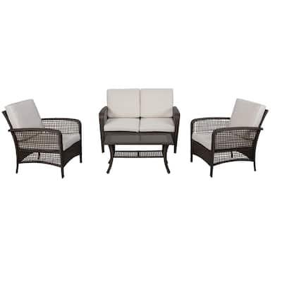 Rattan 4-Piece Outdoor Wicker Sofa Set Patio Conversation set with Beige Cushions