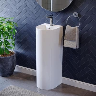 Sublime Rounded Basin Pedestal Sink in Glossy White