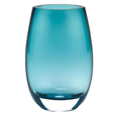 Crescendo Peacock Blue European Mouth Blown Oval Thick Walled Decorative Vase