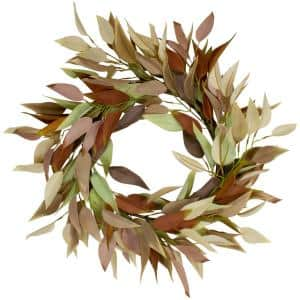 22 in. Unlit Buttery Neutral Fall Colored Leaves Artificial Autumn Harvest Wreath