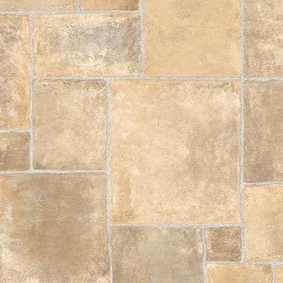Regina Stone Neutral Ceramic Residential Vinyl Sheet Flooring 13.2ft. Wide x Cut to Length