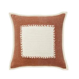 Riviera Brown /Cream Framed Textured Poly-Fill 20 in. x 20 in. Throw Pillow