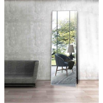Lester 63 in. x 20 in. Modern Rectangle Aluminum Alloy Framed Silver Full-Length Standing Mirror