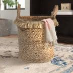 Claine Braided Fringed Natural Jute Decorative Storage Basket with Handles