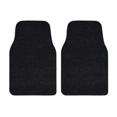 Black Recycled Rugged All-Weather Textile Universal Fit Car Floor Mats for Cars, SUVs, Vans and Trucks (2-Piece)