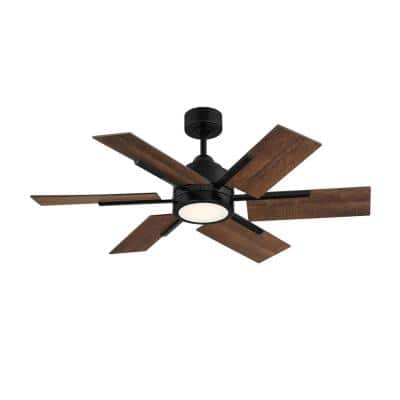 44 in. Integrated LED Matte Black Ceiling Fan with Light