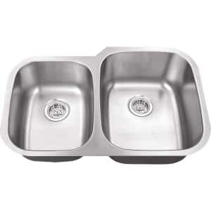 Undermount 16-Gauge Stainless Steel 31-1/2 in. 0-Hole 40/60 Double Bowl Kitchen Sink in Brushed Stainless