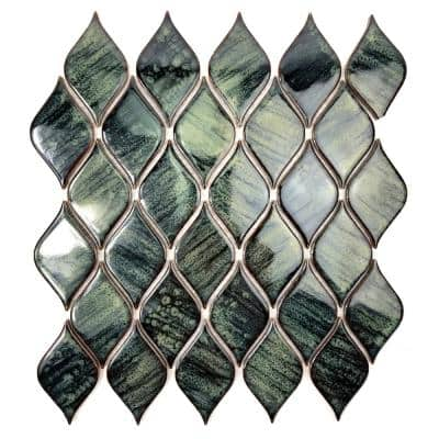 Monet Iris Green Deco Mosaic 2 in. x 4 in. Glossy Porcelain Wall Tile (0.79 Sq. ft.)