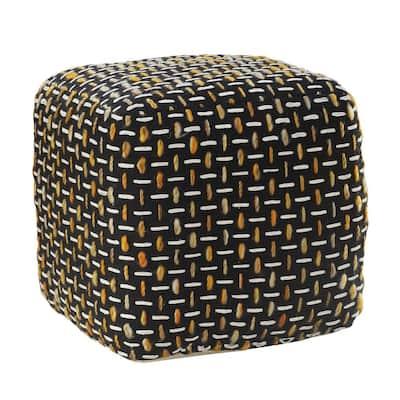 Black/Gold Modern Interwoven Geometric Pouf