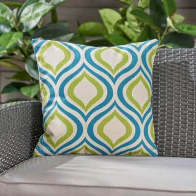 Phuket Ikat Blue and Green Square Outdoor Throw Pillow
