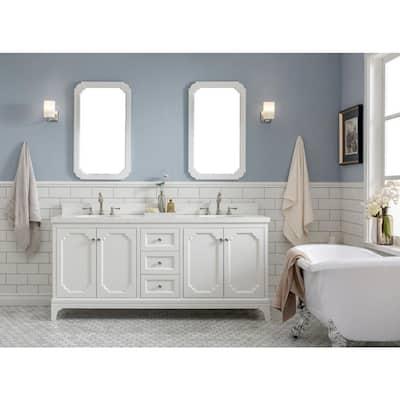 Queen 72 in. Pure White With Quartz Carrara Vanity Top With Ceramics White Basins