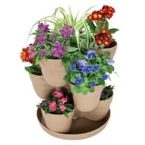 13 in. 3-Tier Resin Flower and Herb Vertical Gardening Planter in Sand