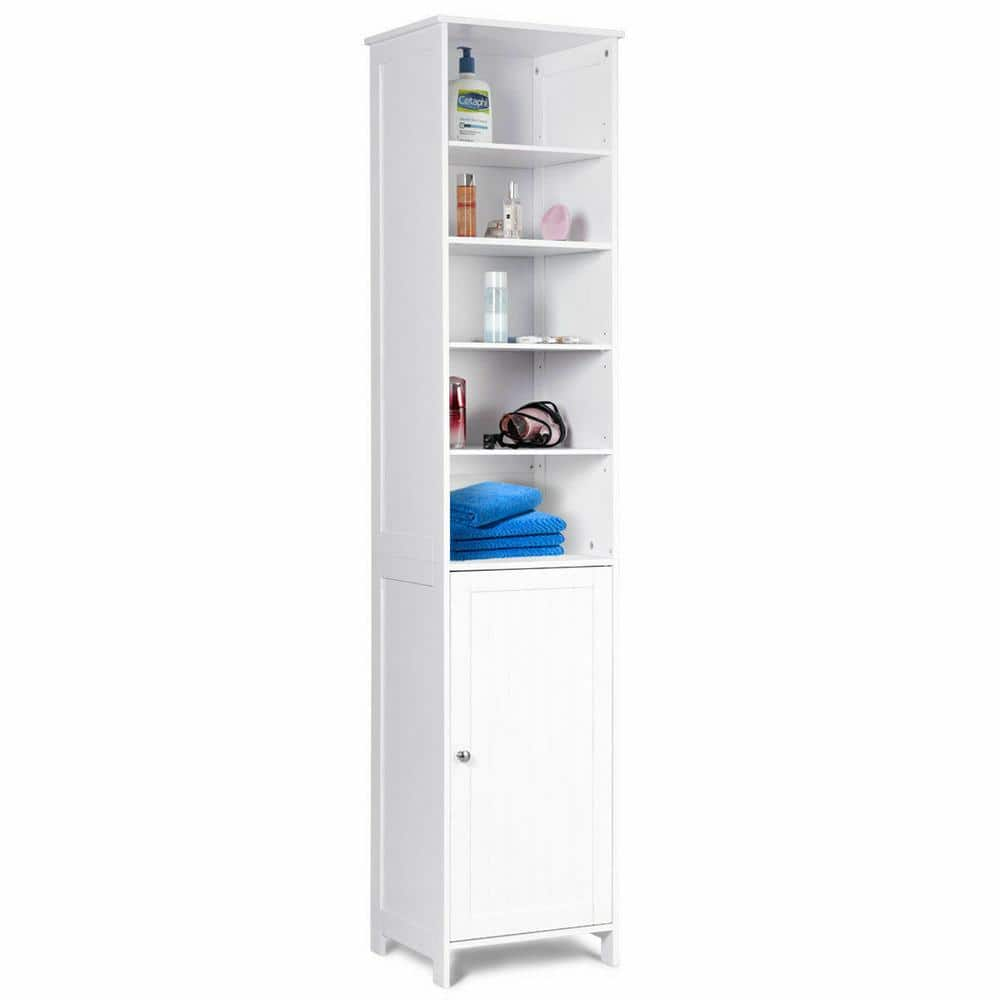Costway 13 5 In W Bathroom Tall Floor Storage Cabinet Free Standing Shelving Space Saver White Hw56613 The Home Depot