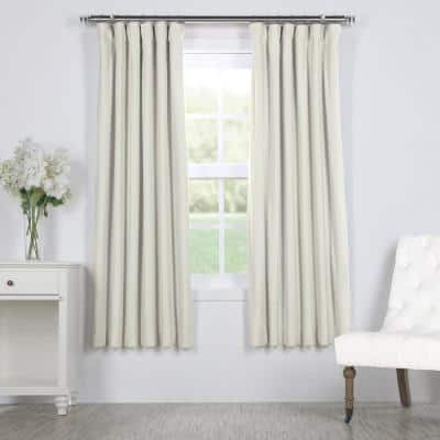 Porcelain White Rod Pocket Blackout Curtain - 50 in. W x 63 in. L
