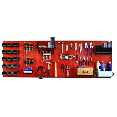 32 in. x 96 in. Metal Pegboard Master Workbench Tool Organizer with Red Pegboard and Black Accessories