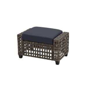 Briar Ridge Brown Wicker Outdoor Patio Ottoman with CushionGuard Midnight Navy Blue Cushions