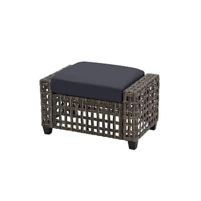 Briar Ridge Brown Wicker Outdoor Patio Ottoman with CushionGuard Midnight Navy Blue Cushions