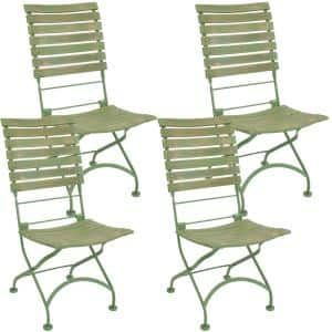 Cafe Couleur Chestnut Green Folding Wooden Outdoor Dining Chair (Set of 4)