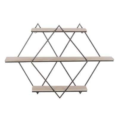 Brown Contemporary Wood Wall Shelf