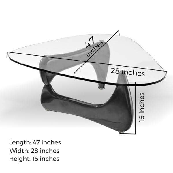 Fab Glass And Mirror Noguchi 47 In Black Clear Large Triangle Coffee Table With Top Ctb Fab1270 The Home Depot