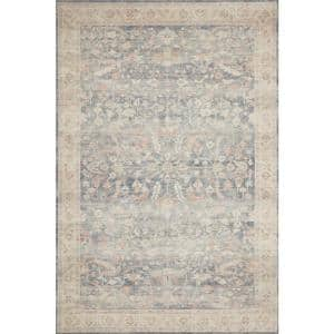 Hathaway Denim/Multi 2 ft. 6 in. x 7 ft. 6 in. Traditional 100% Polyester Pile Runner Rug