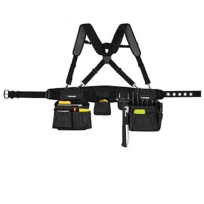 2-Bag 18 -Pocket Black Framer's Suspension Rig Work Tool Belt with Suspenders