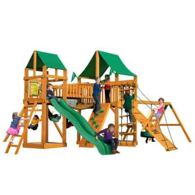 Pioneer Peak Wooden Swing Set with Green Vinyl Canopy and Tire Swing