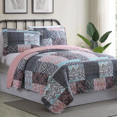 2-Piece Multi-Colored Twin Sylvia Printed Reversible Microfiber Quilt Set
