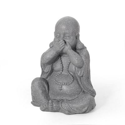Thiago 12.25 in. Outdoor Speak No Evil Monk Garden Statue