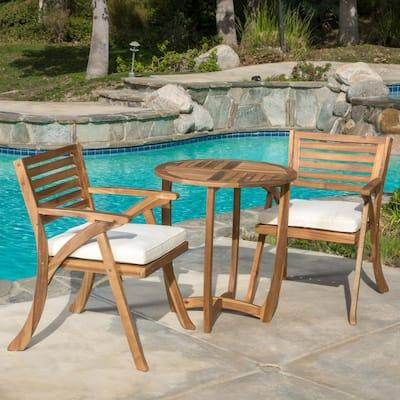 Coronado Teak Brown Finish 3-Piece Wood Round Outdoor Bistro Set with Cream Cushions
