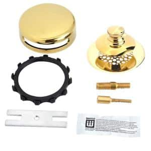 Universal NuFit Push Pull Bathtub Stopper with Grid Strainer, Innovator Overflow Silicone, 2-Pin Kit, Polished Brass