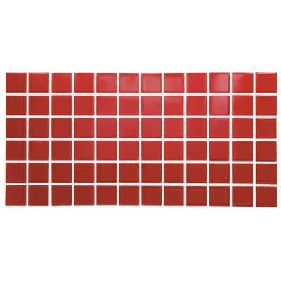 Restore Red 12 in. x 24 in. Glazed Ceramic Mosaic Tile (2 sq. ft./each)