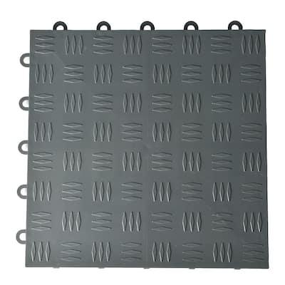 Diamond Top 12-1/8 in. W x 12-1/8 in. L Dark Gray Polypropylene Garage Flooring Tile 25 Pack