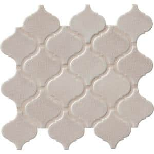 Fog Arabesque 9.84 in. x 10.63 in. x 6 mm Glossy Ceramic Mesh-Mounted Mosaic Tile (10.95 sq. ft./case)
