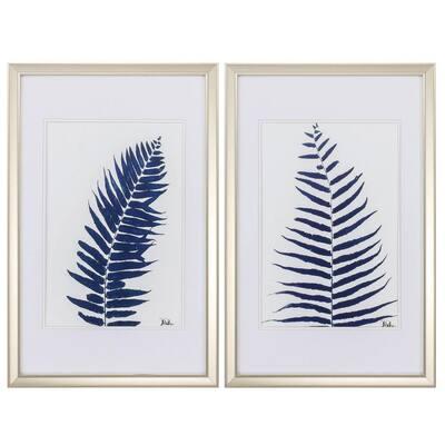 """INDIGO FERNS S/2"" Framed Wall Art Nature 28 in. x 18 in."