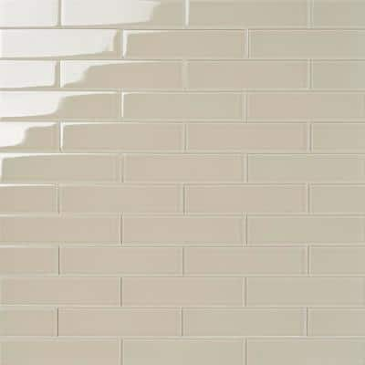 Contempo Beige 2 in. x 8 in. x 8mm Polished Glass Floor and Wall Tile (36 pieces 4 sq.ft./Box)