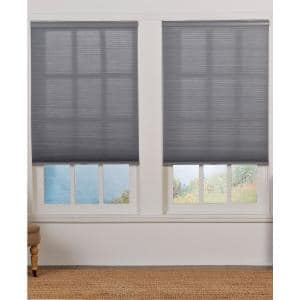 Cut-to-Width Gray 1.5in Cordless Light Filter Double Cellular Shade-55.5in W x 72in L (Actual size: 55.5in W x 72in L)