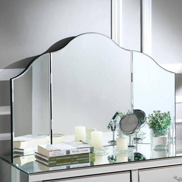 Inspired Home Renee Frameless Modern Contemporary Tri Fold Tabletop Vanity Mirror No Color Jf38 07nc Hd The Home Depot