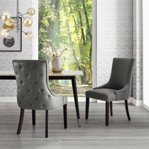 Piper Light Grey/Chrome PU Leather Nailhead Armless Dining Chair (Set of 2)