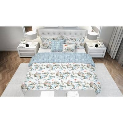 Beach Club 5-Piece Reversible White and Blue Ultra-Soft Microfiber King Comforter Set