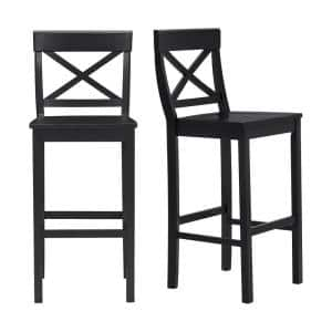 Cedarville Dark Charcoal Wood Bar Stool with Cross Back (Set of 2) (19.42 in. W x 44.15 in. H)