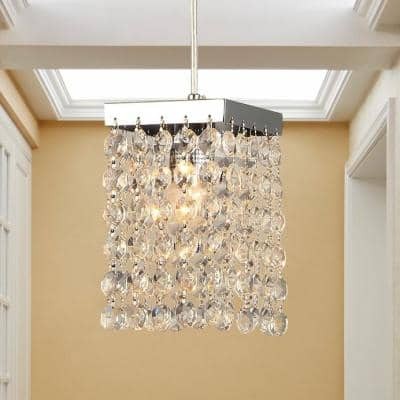 Jehra Chrome Indoor Square-Shaped Crystal Chandelier with Shade