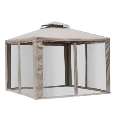 10 ft. x 10 ft. Steel Outdoor Patio Gazebo Pavilion Canopy Tent with a 2-Tier Roof Air Circulation Roof and Bug Mesh