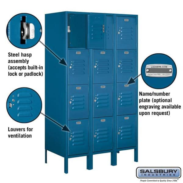Salsbury Industries 64000 Series 4 Tier 36 In W X 66 In H X 18 In D Metal Locker Assembled In Blue 64358bl A The Home Depot