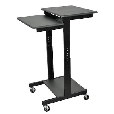 24 in. Rectangular Gray Laptop Desks with Adjustable Height
