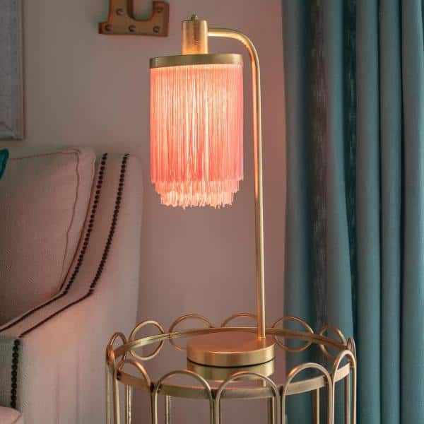 Decor Therapy - Framboise 26.5 Gold Table Lamp with Fringe Lamp Shade
