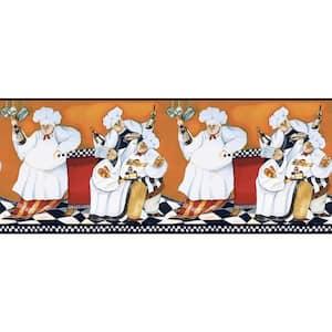 Inspired By Color Chef's A Cookin Border Orange/Black Wallpaper Border