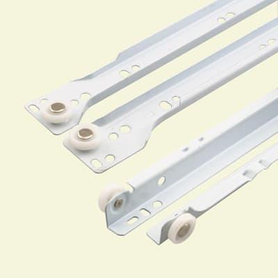 17-3/4 in. White Painted Steel Bottom-Mount Self-Closing Drawer Slides (1-pair)