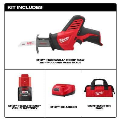 M12 12-Volt Lithium-Ion HACKZALL Cordless Reciprocating Saw Kit with One 1.5Ah Batteries, Charger and Tool Bag
