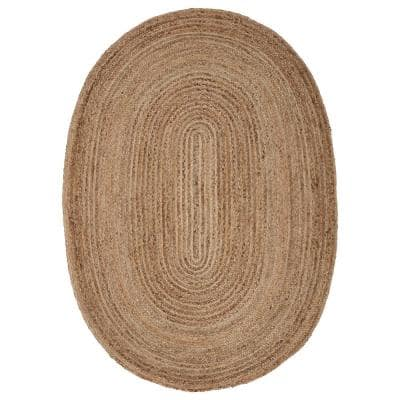 Natural Jute Natural/Gray 5 ft. x 7 ft. Oval Indoor Area Rug